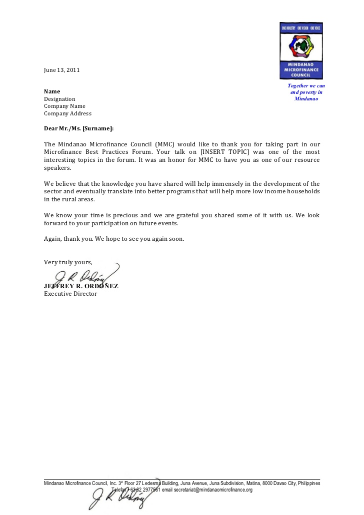 Draft thank you letter for speakers