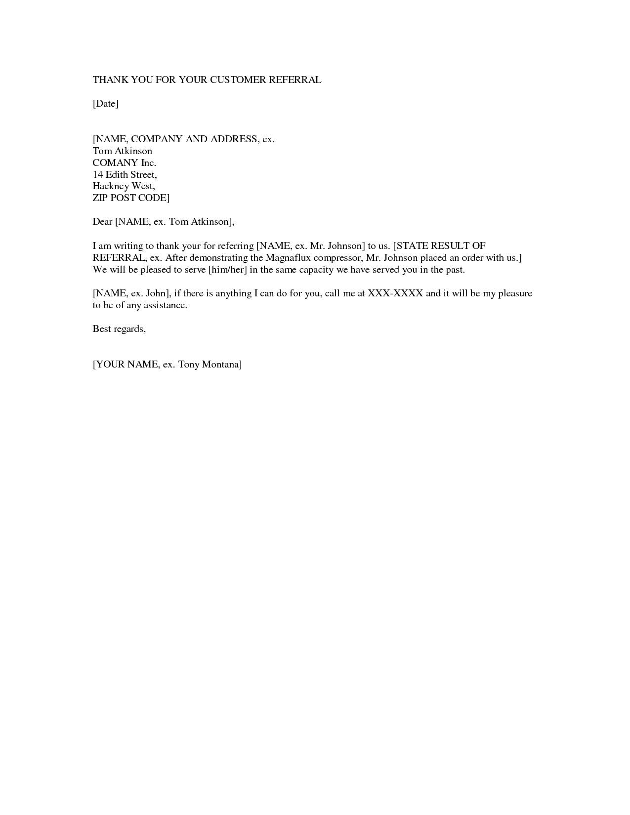 Thank You Letter For Job Referral Image collections Letter