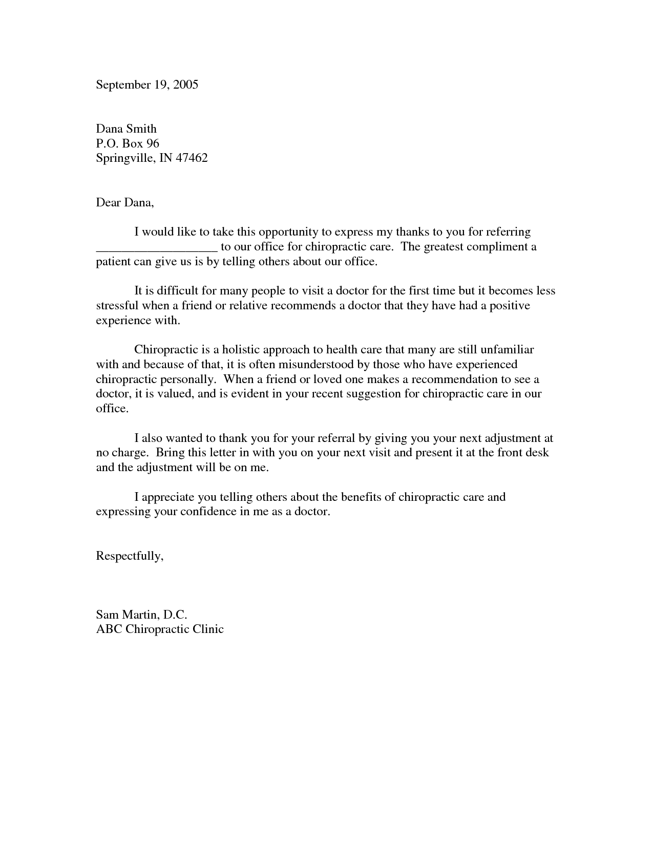 Thank You For Your Referral Letter Gallery Letter Format Formal