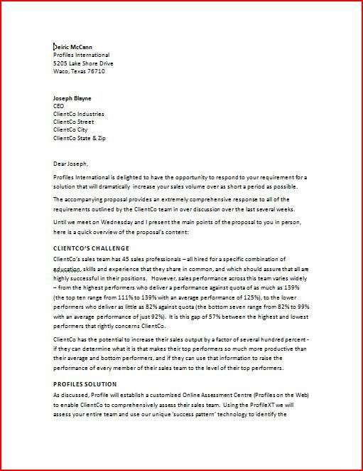 Sales Proposal Letter Sales proposal letter is written to the