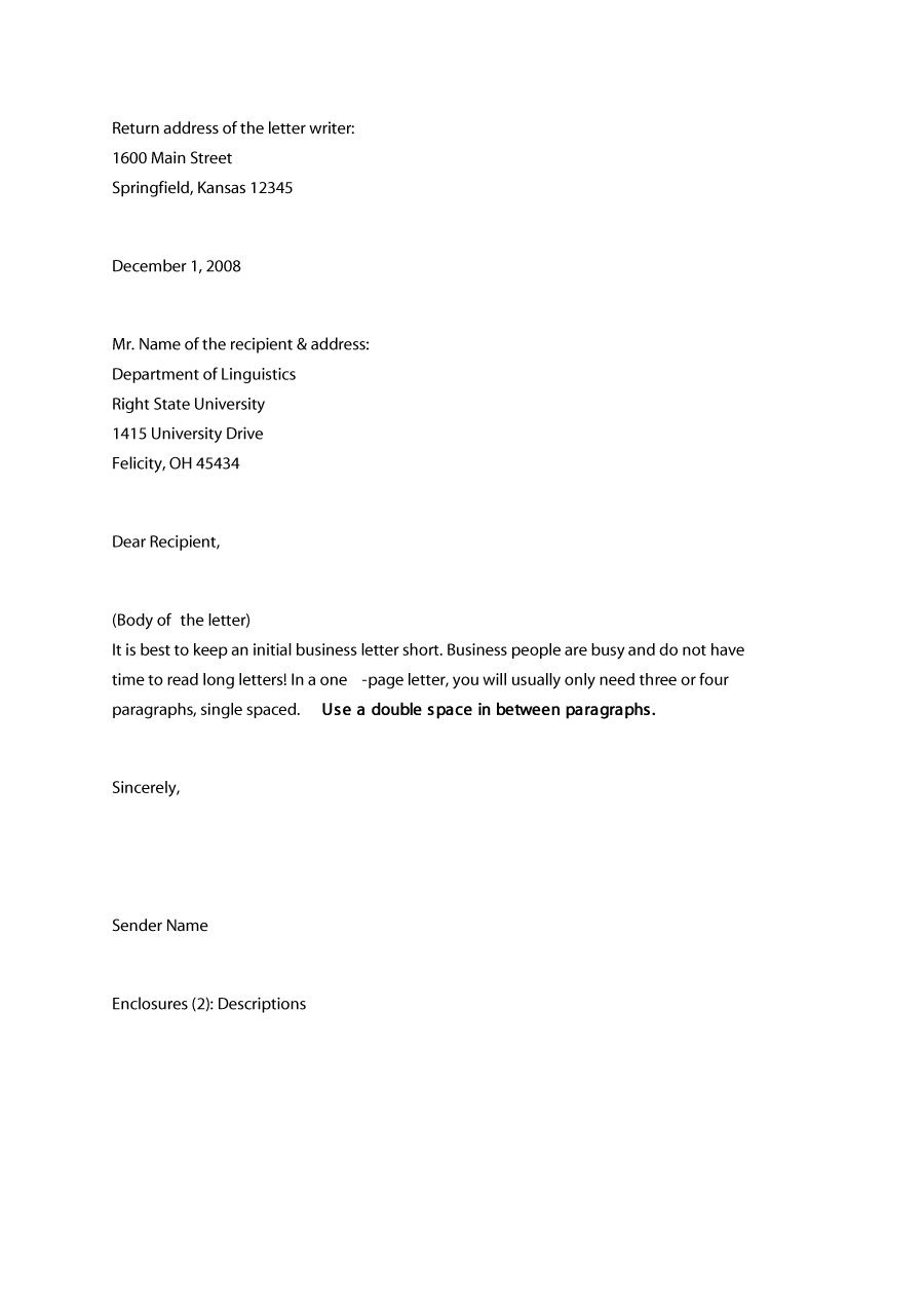 Best Ideas Of Business Letter format Example Domosens
